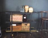 Vintage Industrial Shelving Unit on Wheels.