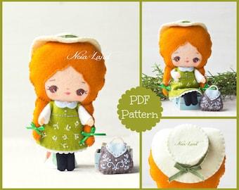 Little Anne doll PDF pattern. Felt doll.