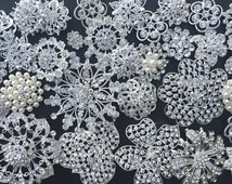 32 pc Silver Brooch Bouquet DIY Kit wholesale assorted lot set crystal rhinestone Bridal Wedding brooch button Decoration BR668