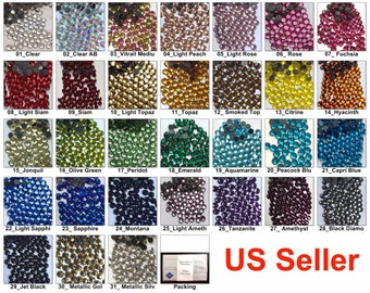 1440 pcs DMC Iron On Hotfix Hot Fix Crystal Rhinestone FREE US Shipping SS20 5mm Clear Green Pink Blue Yellow Red Purple LR887