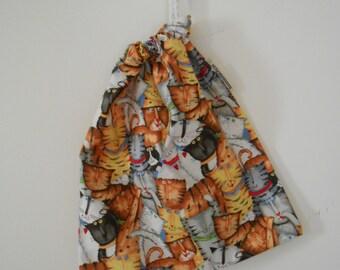Small Cotton Drawstring Cat Bag, Accessory Bag, Treasure Bag, Shoe Bag, Lingerie Bag, Makeup Bag, Handmade In Australia