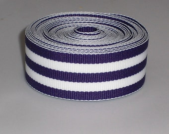 5 Yards 7/8 inch Purple and White Stripes Ribbon