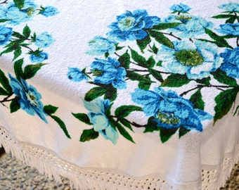 "Vintage Terrycloth Tablecloth - 1970s Turquoise Aqua Roses - NOS 58"" Round"