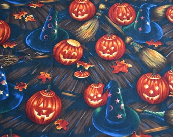 Alexander Henry Halloween Fabric - Bell Knobs Broomsticks - JOL Witch Hats