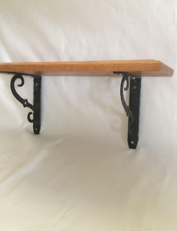vintage wall mounted oak shelf with metal brackets. Black Bedroom Furniture Sets. Home Design Ideas