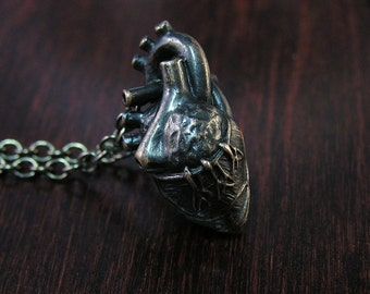 Gothic Black Anatomical Heart Necklace in Bronze, Anatomic Human Heart Pendant, dangles on a 20 inch chain