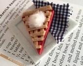Classic All American Cherry Pie Brooch - Lattice & Whipped Cream - Traditional Dessert