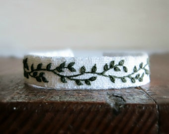 Green Vine Embroidered Cuff Bracelet - Dark Green Vine on White Linen Bracelet - Hand Embroidered Cuff Bracelet