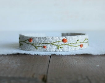 Wildflowers Bracelet - Hand Embroidered Orange Wildflowers on Natural Linen Cuff Bracelet
