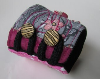 Patchwork quilted wrist CUFF, bead embellished, bracelet