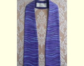 IMMEDIATE SHIPPING -- Clergy Stole For Advent in Purple Cotton Print -- 50 Inch Length