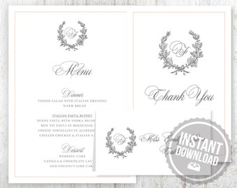 INSTANT DOWNLOAD Wedding Stationery Set for Outdoor Wedding - Laurel Wreath Design Customizable Printable Word Files