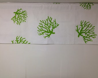 RTS, Lined valance, 42 x 16 inches, Dandelion chartreuse lime green and white cotton