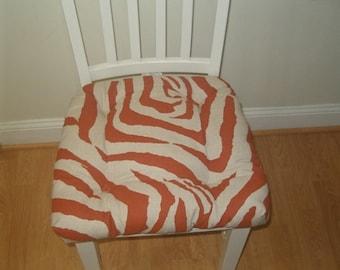RTS Tufted chair pad, seat cushion, bar stool cushion, Zebra auburn burnt orange and linen