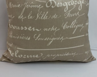 """RTS Penmanship script, words, throw pillow, 14"""" square cotton, latte, beige and natural, French script"""