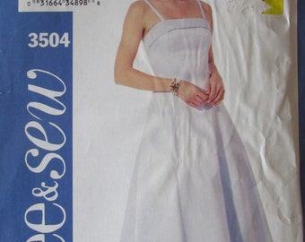McCalls 3504 Uncut Sewinjg Pattern Misses Easy Sew Sundress Dress Evening Dress Size 12-14-16, 2005