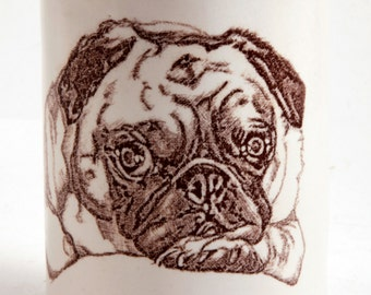 Thinking Pug Thoughts Fawn Pug Round White and Blue Tumbler Vase Pencil Holder