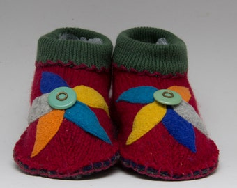 Womens  red slippers upcycled pure wool large flower