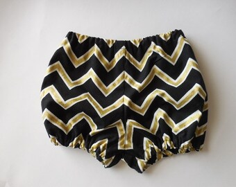 Black and gold chevron baby bloomers diaper covers