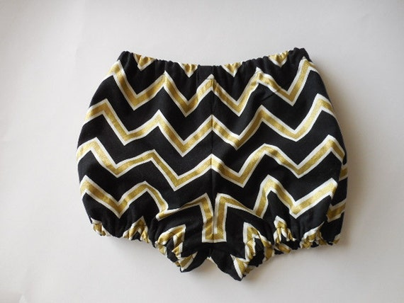 Black and gold chevron baby bloomers diaper by AllDolledUpByKathy