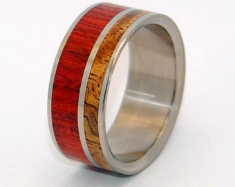 Wooden Wedding rings, titanium wedding rings, koa wood, bloodwood, unique wedding ring, his ring, custom made ring, hand made, HEART SONG