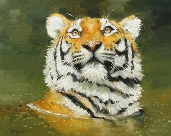 Original oil painting - wildlife art - portrait of a tiger - by UK artist j Payne