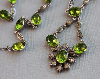 Georgian Green Paste Riviere Necklace / Regency Foiled Peridot Paste Silver Drop Necklace / Antique Wedding Jewelry