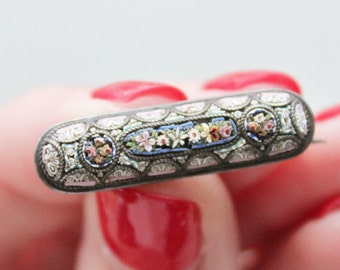 19th Century Italian Micro Mosaic Veil Pin  / 1800s Victorian Grand Tour Jewelry