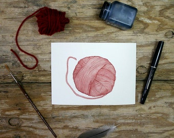 Watercolor Yarn  Painting- Marsala Red Painting- 5x7- Watercolor Painting- Pen and Ink Drawing-  Small Watercolour