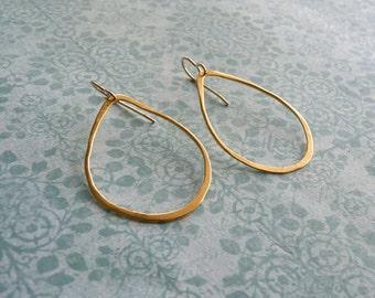 Gold Hoops  - Gold Hoop Earrings - 18k Gold Earrings - Oval Teardrop Earrings