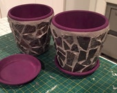 Ceramic mosaic tiled flower pots