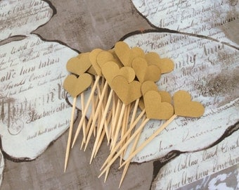 Gold or White Pearlescent Heart Cupcake Toppers Food Picks