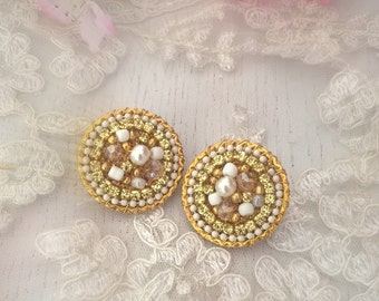 Round Gold and White Clip on earrings-handmade and unique- Wedding earrings-
