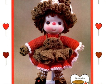 Chocolate Chip Cookie Brown Red White Ruffled Hat Shoes Apron Crocheted 14 Inch Soft Body Sculpture Doll Craft Pattern Leaflet CDC404
