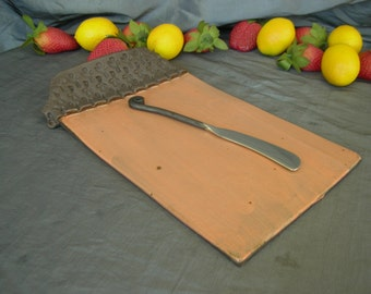 Cheese Plate, Serving Tray in Tangerine and Black Mountain with Stamped Handle