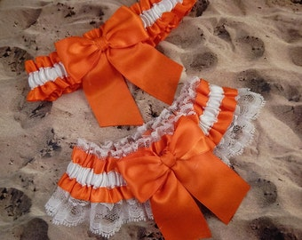 Orange Ribbon White Lace Bridal Wedding Garter Toss Set