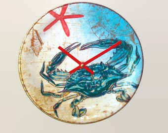 Melamine Blue Crab Wall Clock / Beach Wall Clock / Beach House Clock / Sea Clock / Unique Wall Clock / Unique Wall Decor - 2384