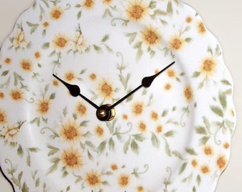 NEW!  Daisy Wall Clock, 9 inches SILENT, Ivory and Yellow Floral Clock, Porcelain Plate Wall Clock, Kitchen Clock - 2138