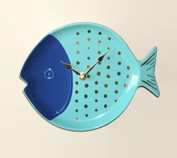 Navy Blau Türkis Fische Wand Badezimmer Uhr Von Makingtimetc