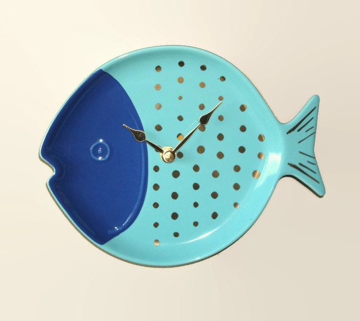 Navy Blue Turquoise Fish Wall Clock  Bathroom Clock  Kitchen Clock  Nursery  Decor  Unique Wall Clock  Turquoise Home Decor   2349. Bathroom clock   Etsy