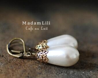 Cafe au lait - Real Vintage Earrings