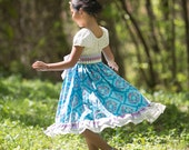 Stained Glass twirl peasant dress and sash,sizes 6mos.-10 girls