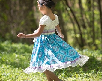 ON SALE! Stained Glass twirl peasant dress and sash,sizes 6mos.-10 girls