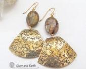 Picasso Jasper Earrings, Brass Earrings, Natural Stone Earrings, Fall Jewelry, Handmade Metal Jewelry, Modern Gold Earrings, Jasper Jewelry