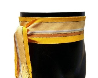 Striped Gold Yellow Sash SA68 - Renaissance Gypsy Clothing - Pirate Belt - Boho Chic Fashion - Ethnic Sash - Guatemalan Fabric - Woven Belt