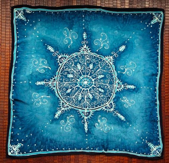 Blue Snowflake Mandala Hand Painted Silk Tarot Cloth Altar