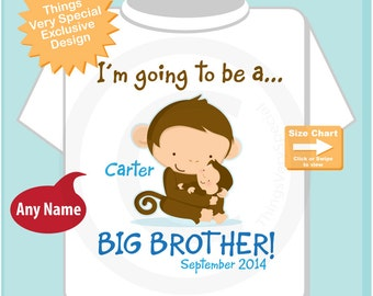 Boy's Personalized I'm Going to Be A Big Brother Shirt or Onesie Personalized with name and due date (07072016a)