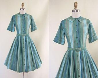 50s Dress - Vintage 1950s Dress - Olive Mustard Aqua Stripe Cotton Full Skirt Shirt Dress S - Sagebrush Dress