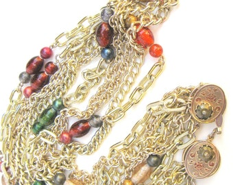 Signed PAMAR Multi-Chain & Italian Bead Necklace