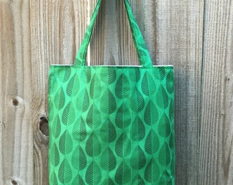 100% Cotton Tote Bag, Green Leaves